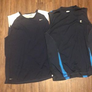 Two sleeveless workout tops